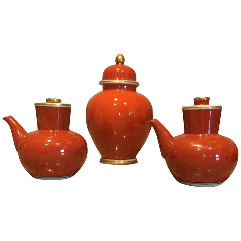 Fitz and Floyd Medaillon d'Or Pair of Cruets and Tea Ginger Jar, 1979