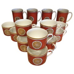 Fitz and Floyd Medaillon d'Or Set of 15 Coffee Cups and Mugs, 1979