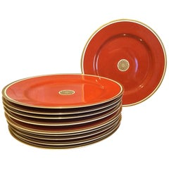 Fitz and Floyd Medallion d'Or Set of 10 Persimmon and Gold Dinner Plates, 1979
