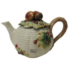 Fitz and Floyd White Bone China Harvest Tea Pot