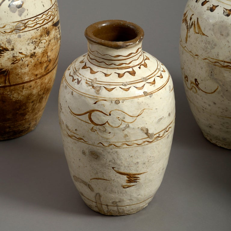 Chinese Five 16th Century Ming Period Cizhou Vases For Sale