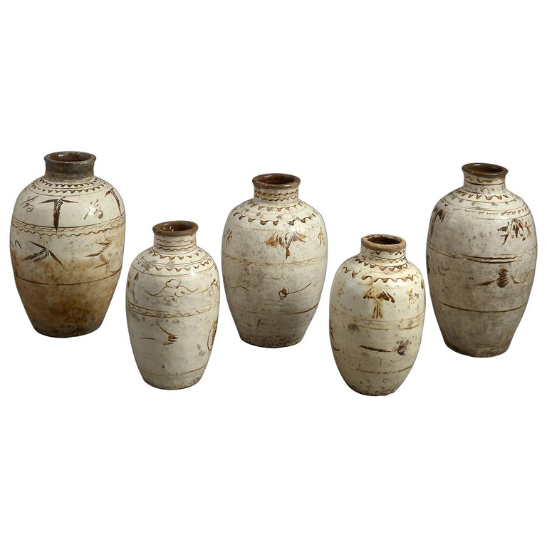 Five 16th Century Ming Period Cizhou Vases For Sale