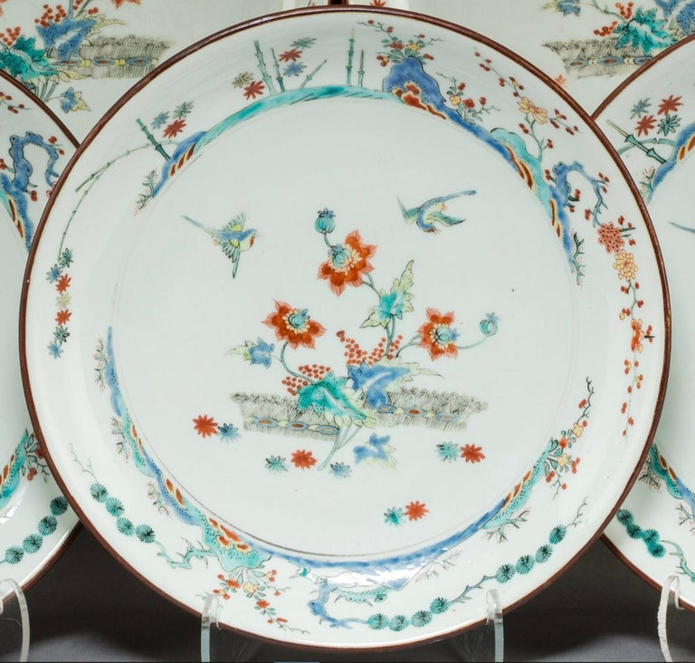 Five 18th Century Qing Dynasty Enameled Porcelain Chinese Export Plates In Good Condition For Sale In Dallas, TX