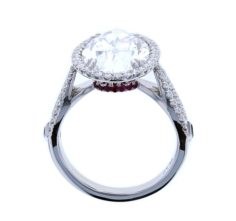 Modern Five '5' Carat Custom Oval Diamond Engagement Ring in Platinum For Sale