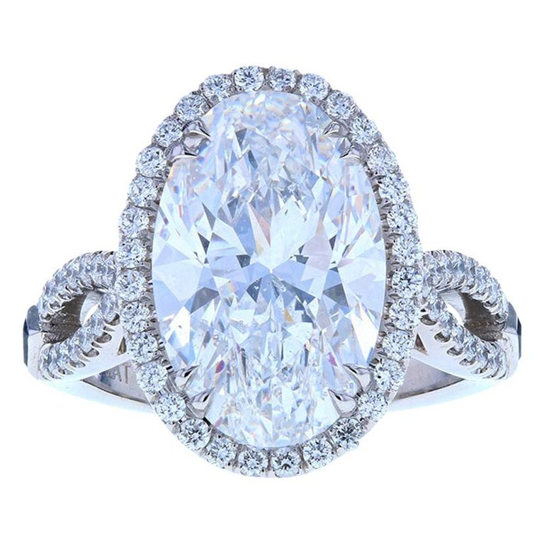 Five '5' Carat Custom Oval Diamond Engagement Ring in Platinum For Sale