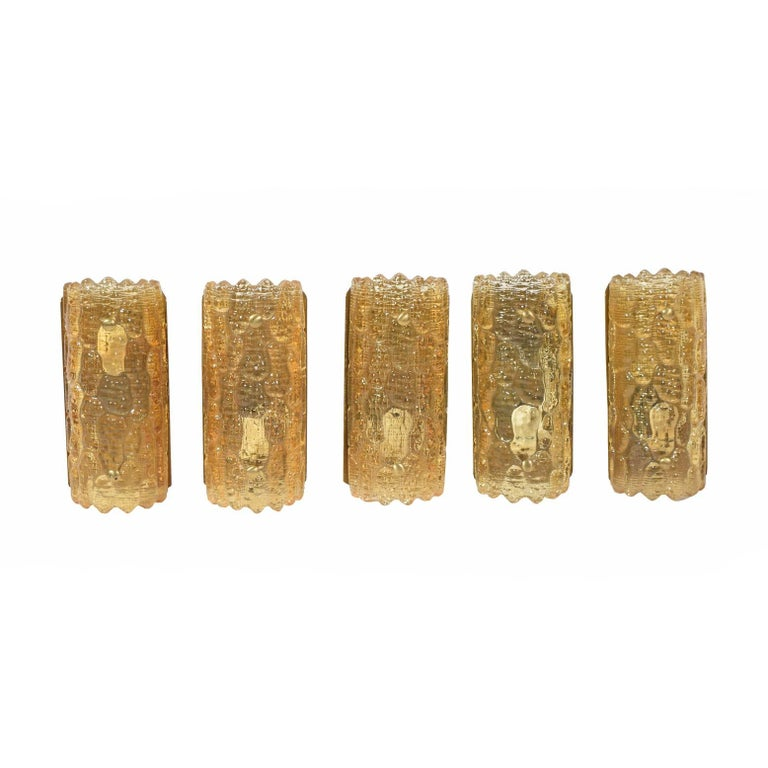 Five Amber Sconces by Carl Fagerlund for Orrefors