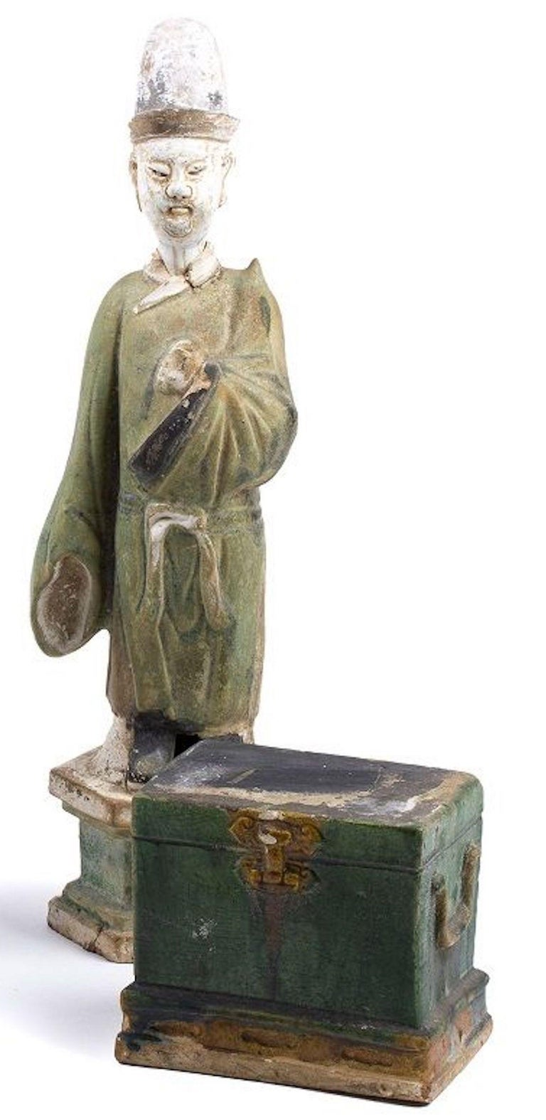 Chinese Five Ancient Glazed Statuettes, Ming Dinasty China For Sale