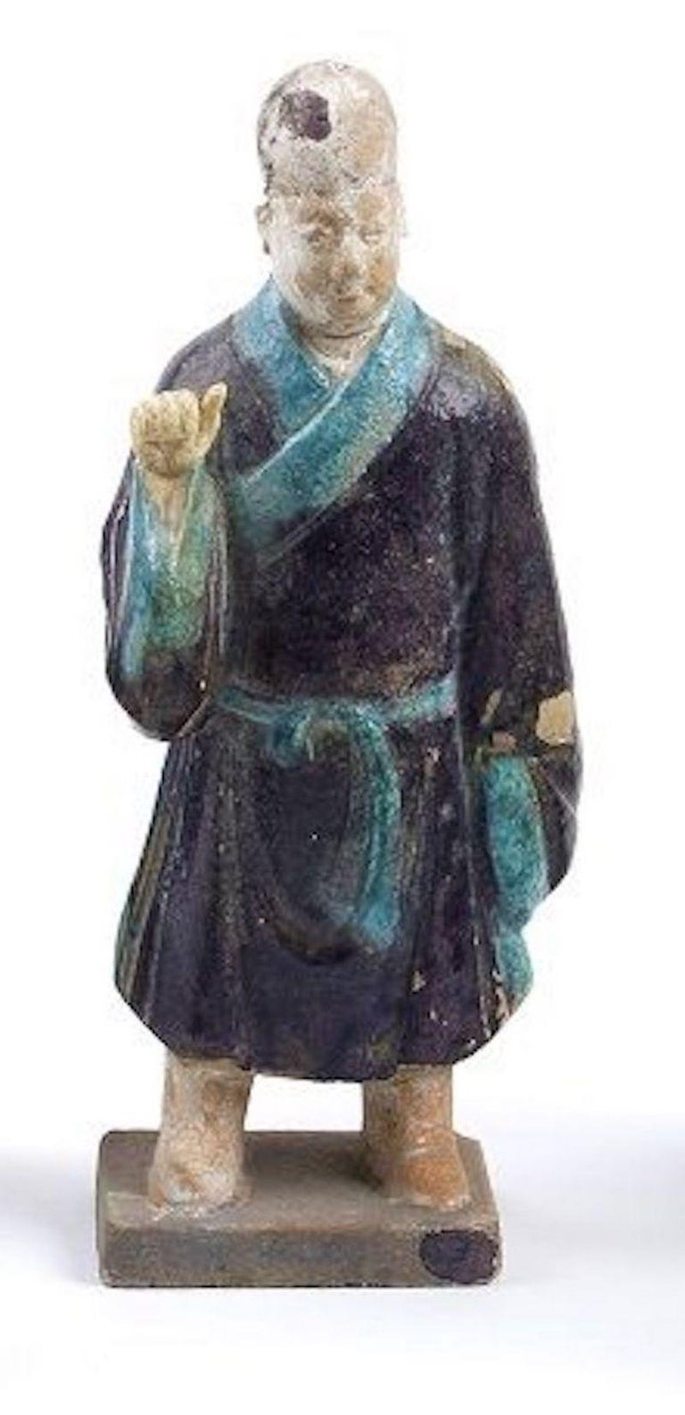 18th Century and Earlier Five Ancient Glazed Statuettes, Ming Dinasty China For Sale