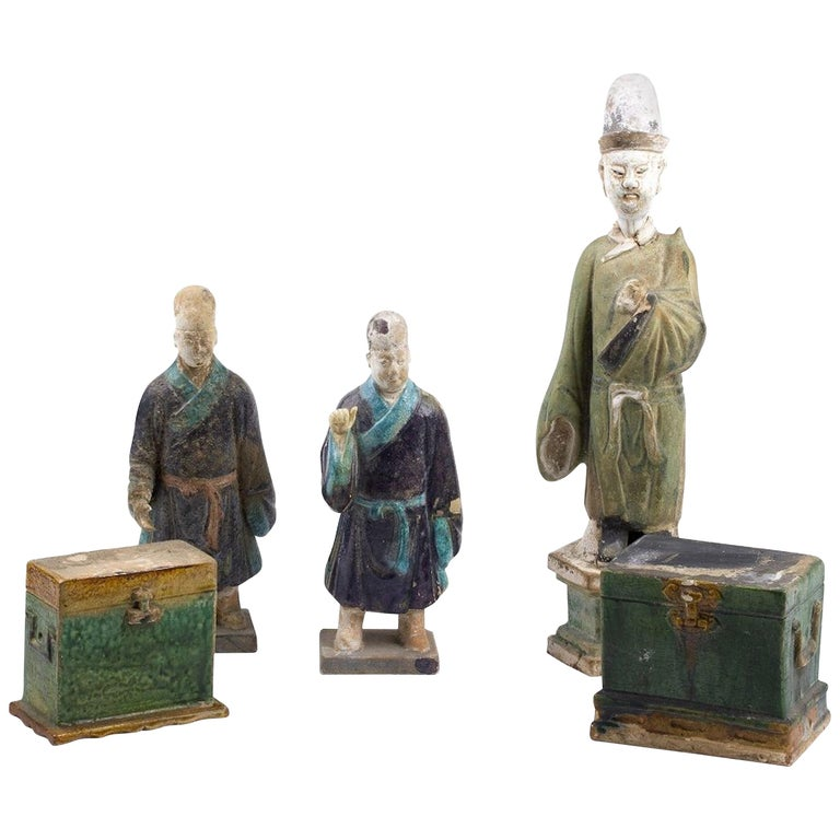 Five Ancient Glazed Statuettes, Ming Dinasty China For Sale