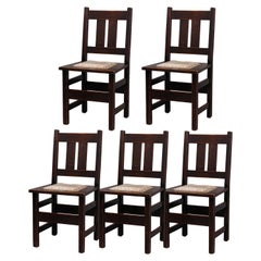 Five Antique Arts & Crafts Mission Oak Stickley School Dining Chairs, circa 1910