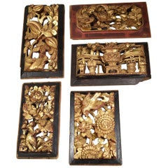 Five Antique Carved Asian Style Wall Plaques Birds, Flowers