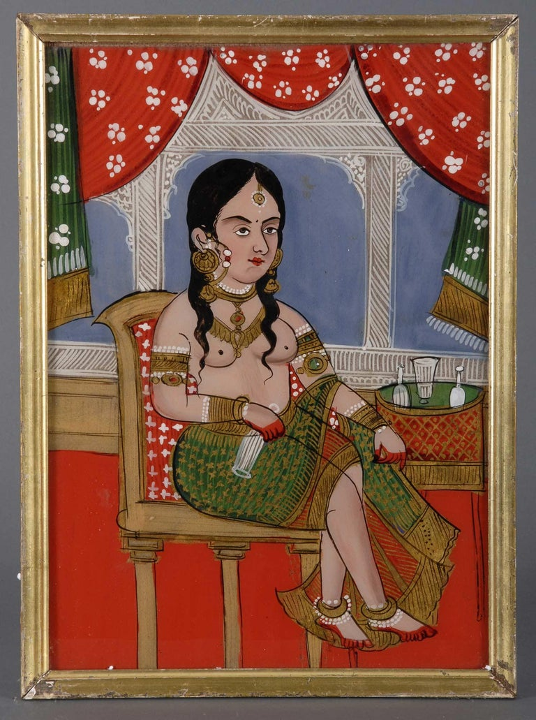 Painting on glass was introduced into India in the 18th century by itinerant Chinese artists and was generally a middle class art form. Glass paintings done for the rulers were of aristocrats and their mistresses. Pictures for the middle class were
