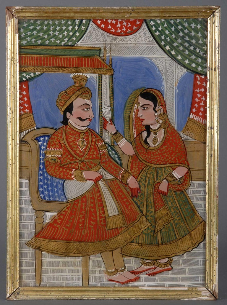 Anglo Raj Five Antique Indian Reverse Glass Paintings For Sale