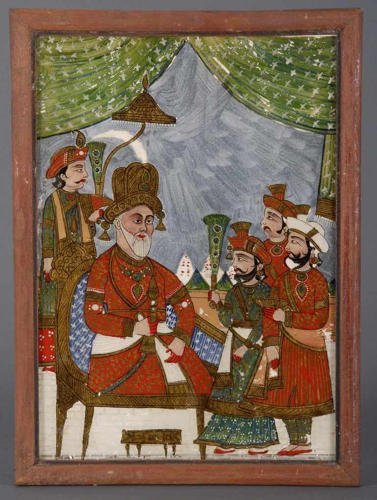 Five Antique Indian Reverse Glass Paintings In Good Condition For Sale In Sheffield, MA