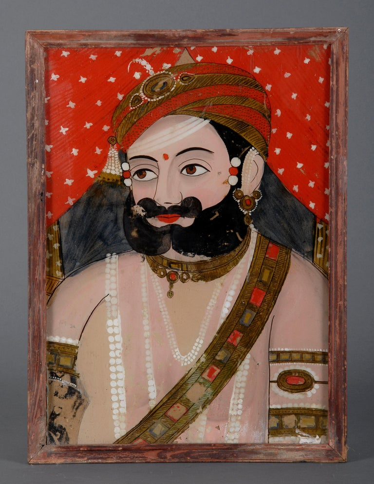 Late 19th Century Five Antique Indian Reverse Glass Paintings For Sale