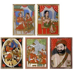 Five Antique Indian Reverse Glass Paintings