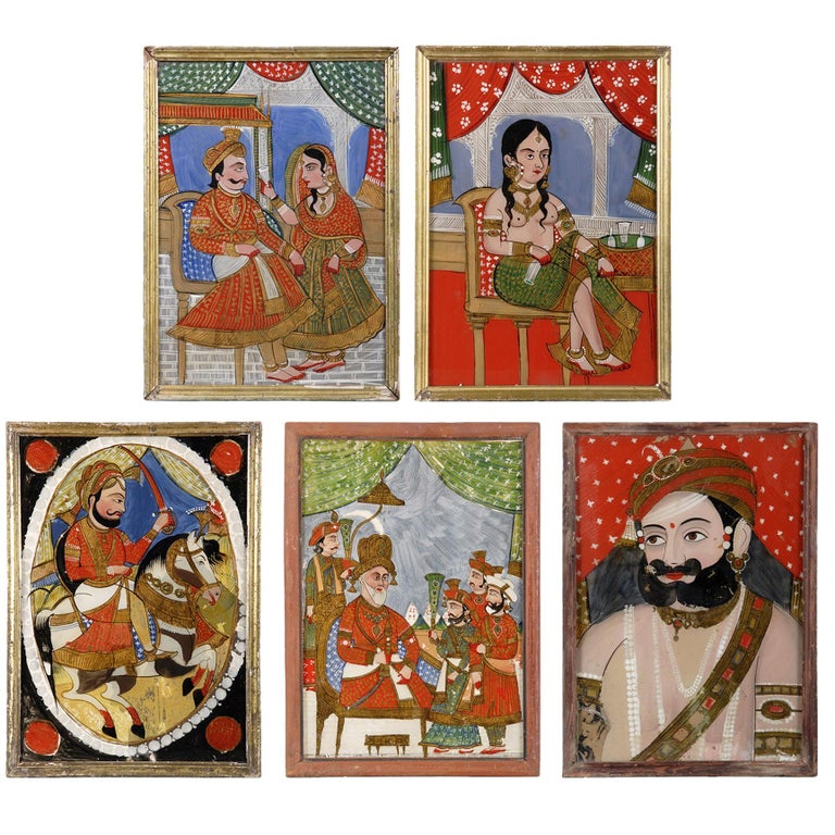 Five Antique Indian Reverse Glass Paintings For Sale