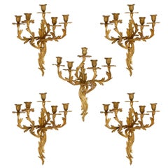 Five Antique Louis XV Style Gilt Bronze Wall Sconces
