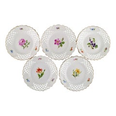Five Antique Meissen Plates in Openwork Porcelain with Hand-Painted Flowers