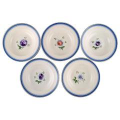 Five Antique Royal Copenhagen Deep Plates in Hand Painted Porcelain