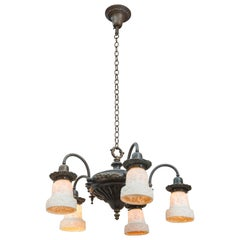 Five-Arm Belle Époque Chandelier with Original Milk Glass Shades