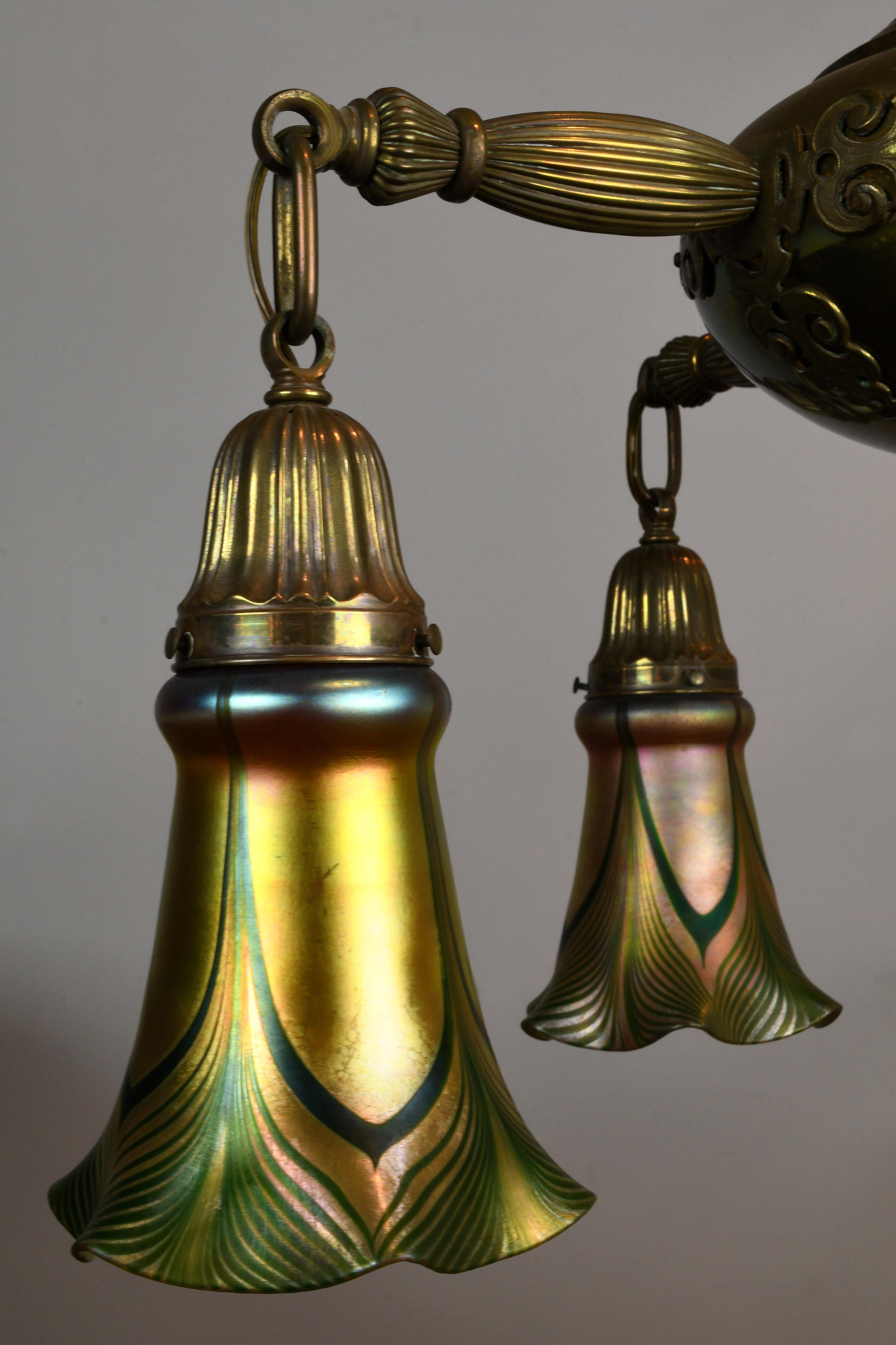Five Arm Brass Chandelier Hurricane Glass Shades