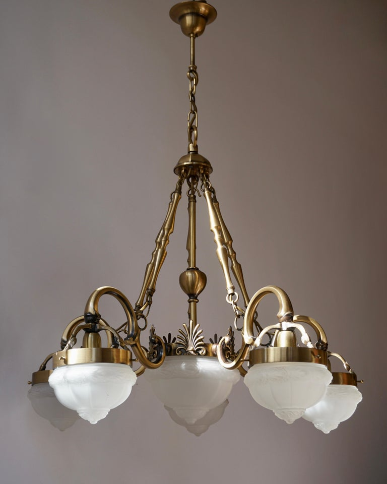 Five-Arm Bronze and Art Glass Chandelier For Sale 4