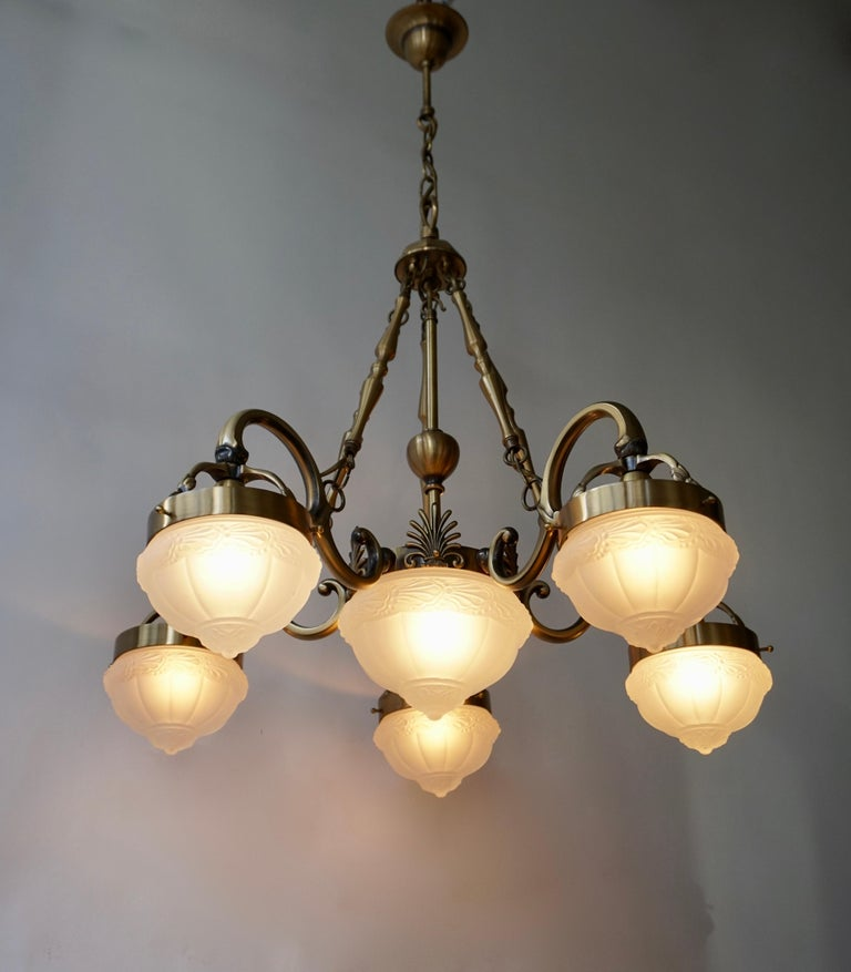 Hollywood Regency Five-Arm Bronze and Art Glass Chandelier For Sale