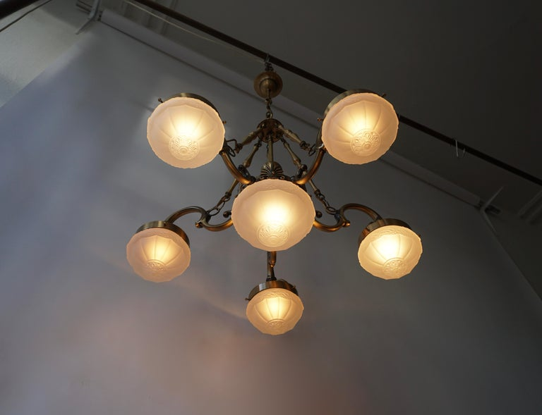 Italian Five-Arm Bronze and Art Glass Chandelier For Sale