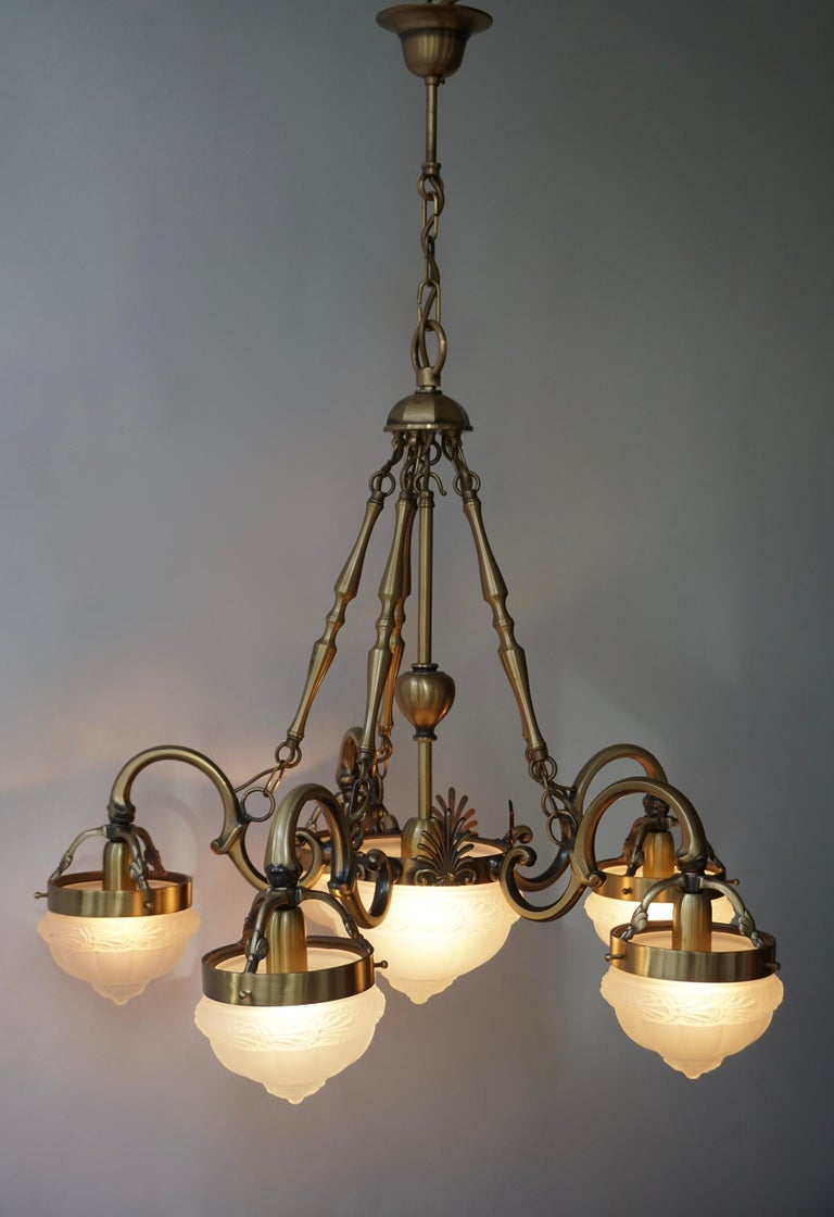 Five-Arm Bronze and Art Glass Chandelier For Sale 1