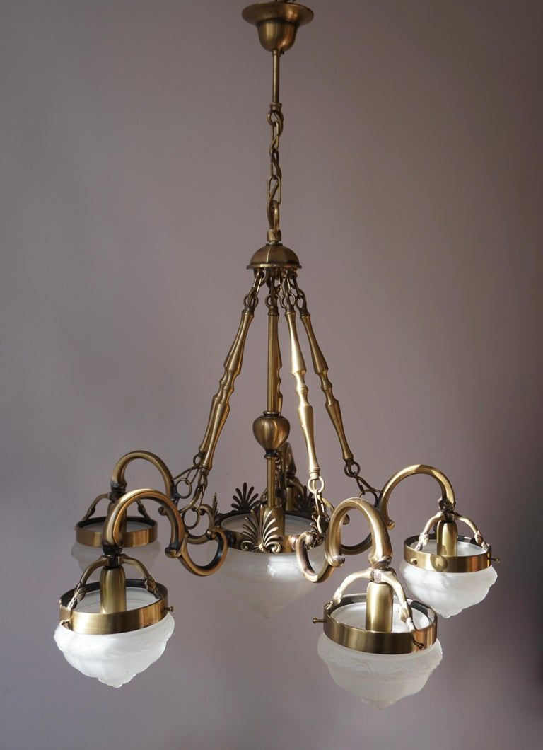 Five-Arm Bronze and Art Glass Chandelier For Sale 2