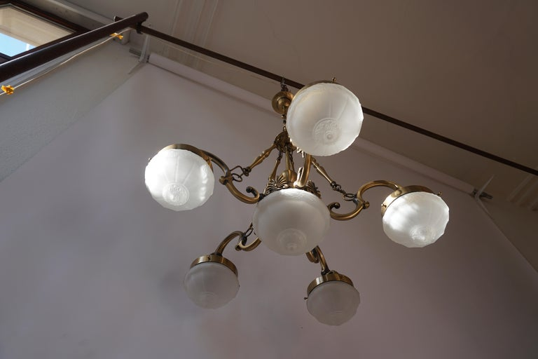 Five-Arm Bronze and Art Glass Chandelier For Sale 3