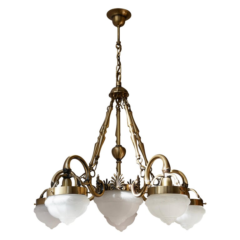 Five-Arm Bronze and Art Glass Chandelier For Sale