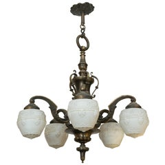 Five-Arm Bronze Edwardian Chandelier, White Embossed Acorn Style Glass Shades
