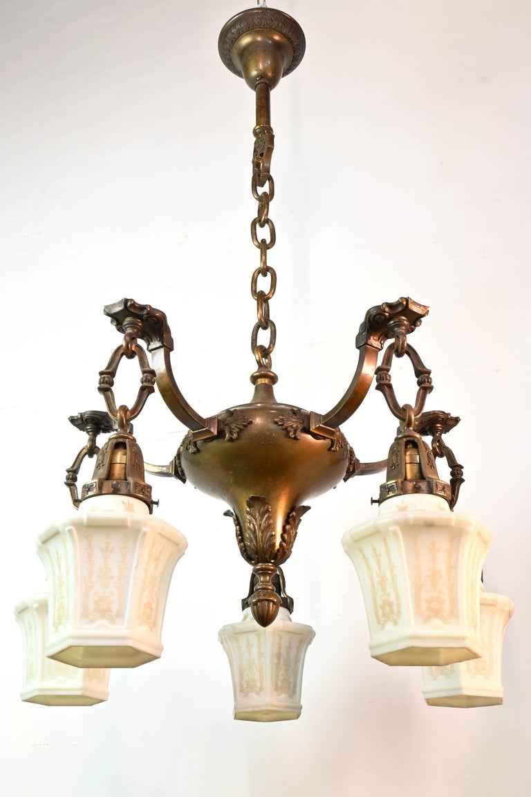 American Empire Five-Arm Cast Brass Chandelier with Original Etched Shades For Sale