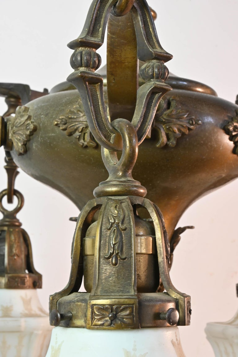 19th Century Five-Arm Cast Brass Chandelier with Original Etched Shades For Sale