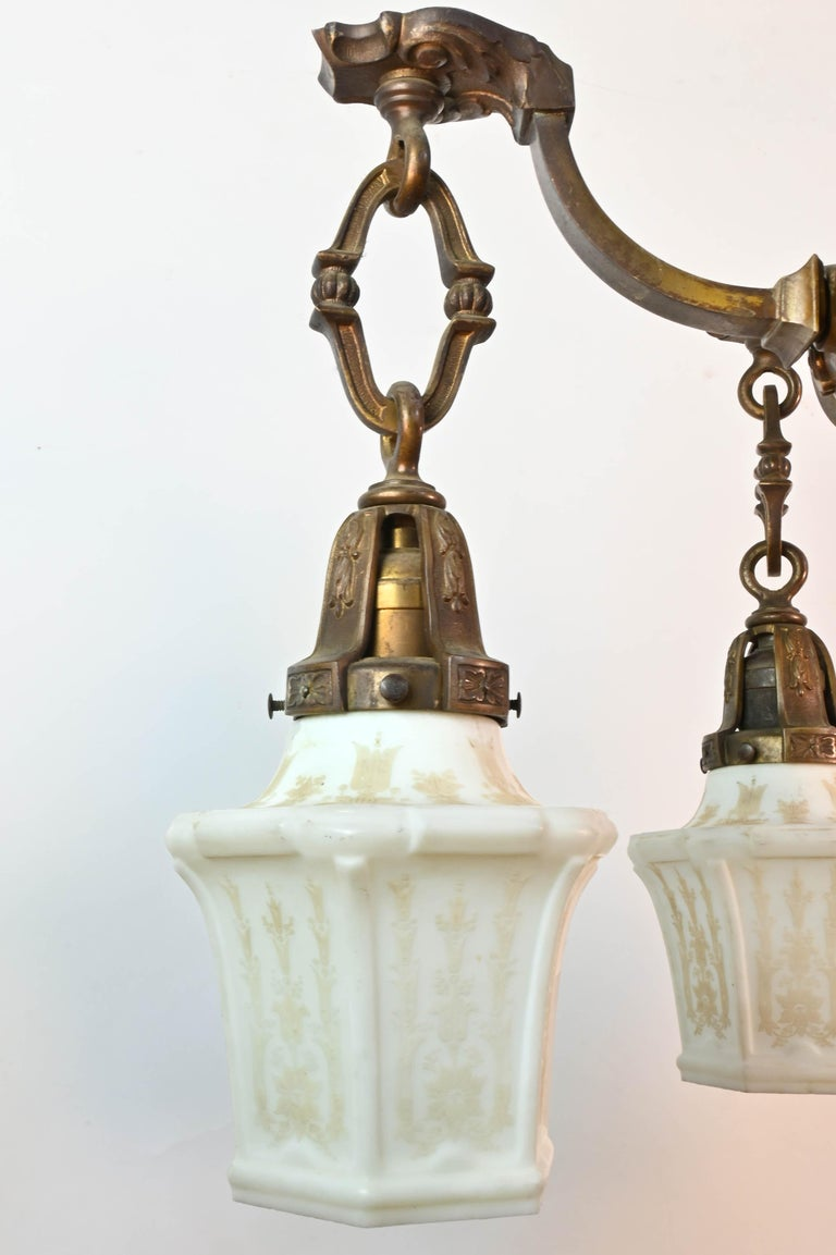 Five-Arm Cast Brass Chandelier with Original Etched Shades For Sale 1