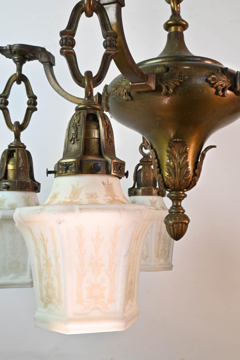 Five-Arm Cast Brass Chandelier with Original Etched Shades For Sale 2