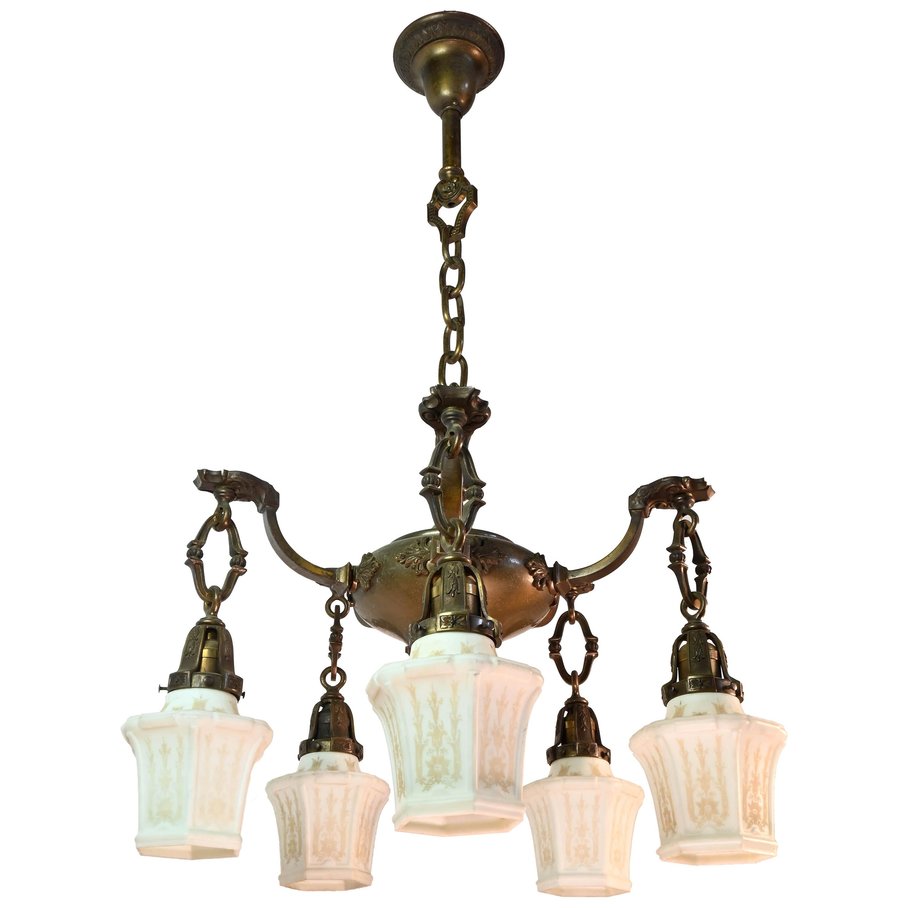 Five-Arm Cast Brass Chandelier with Original Etched Shades