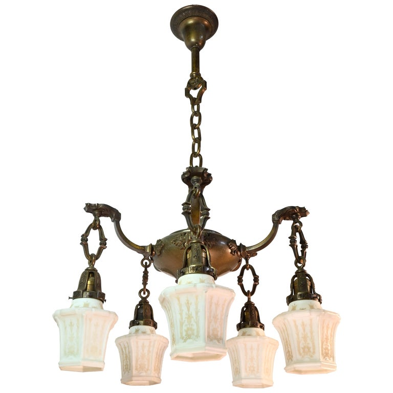 Five-Arm Cast Brass Chandelier with Original Etched Shades For Sale