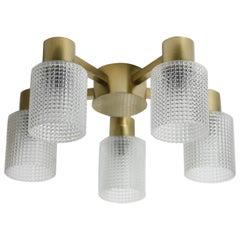 Five-Arm Crystal Cup Orrefors Brass Flush Mount, Sweden, 1970