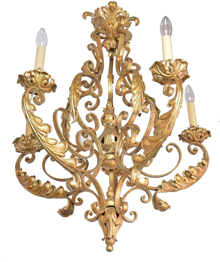 Early 20th Century Five-Arm French Chandelier For Sale