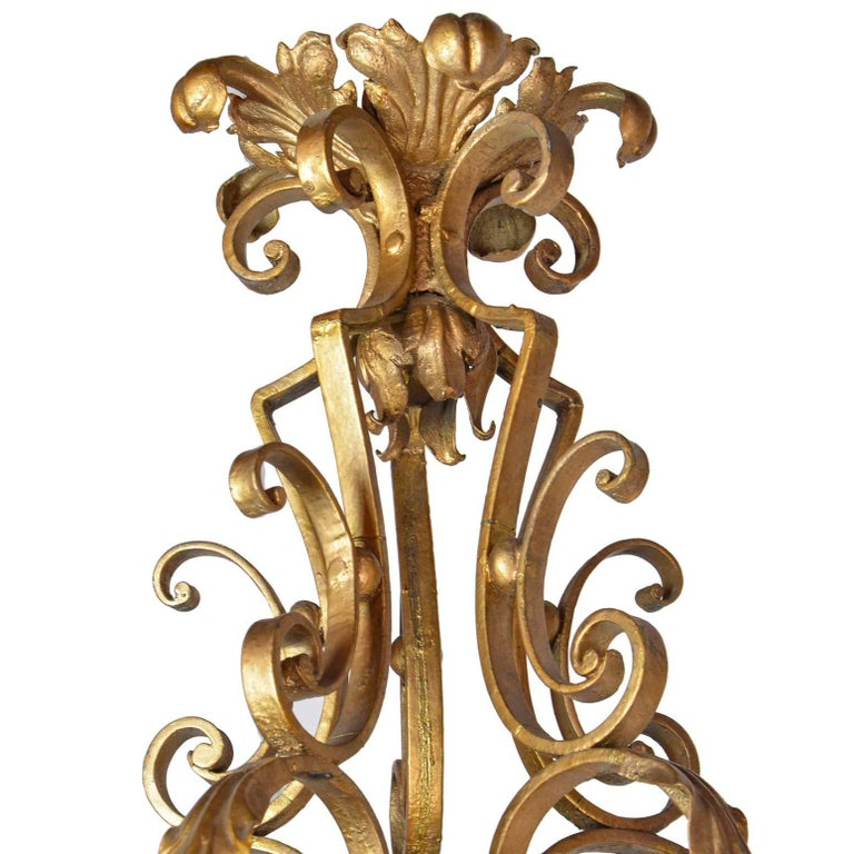 Iron Five-Arm French Chandelier For Sale