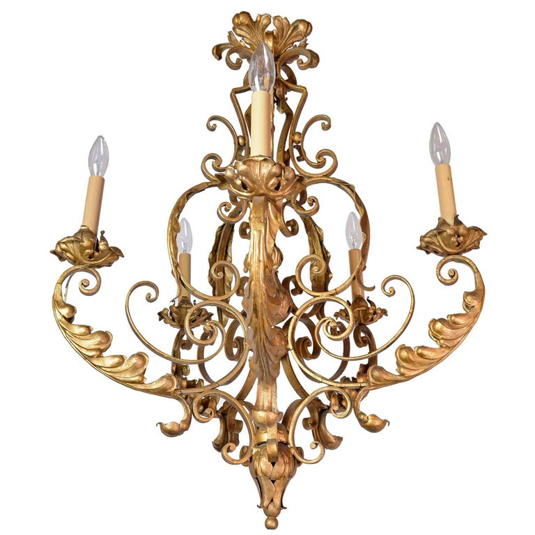 Five-Arm French Chandelier For Sale