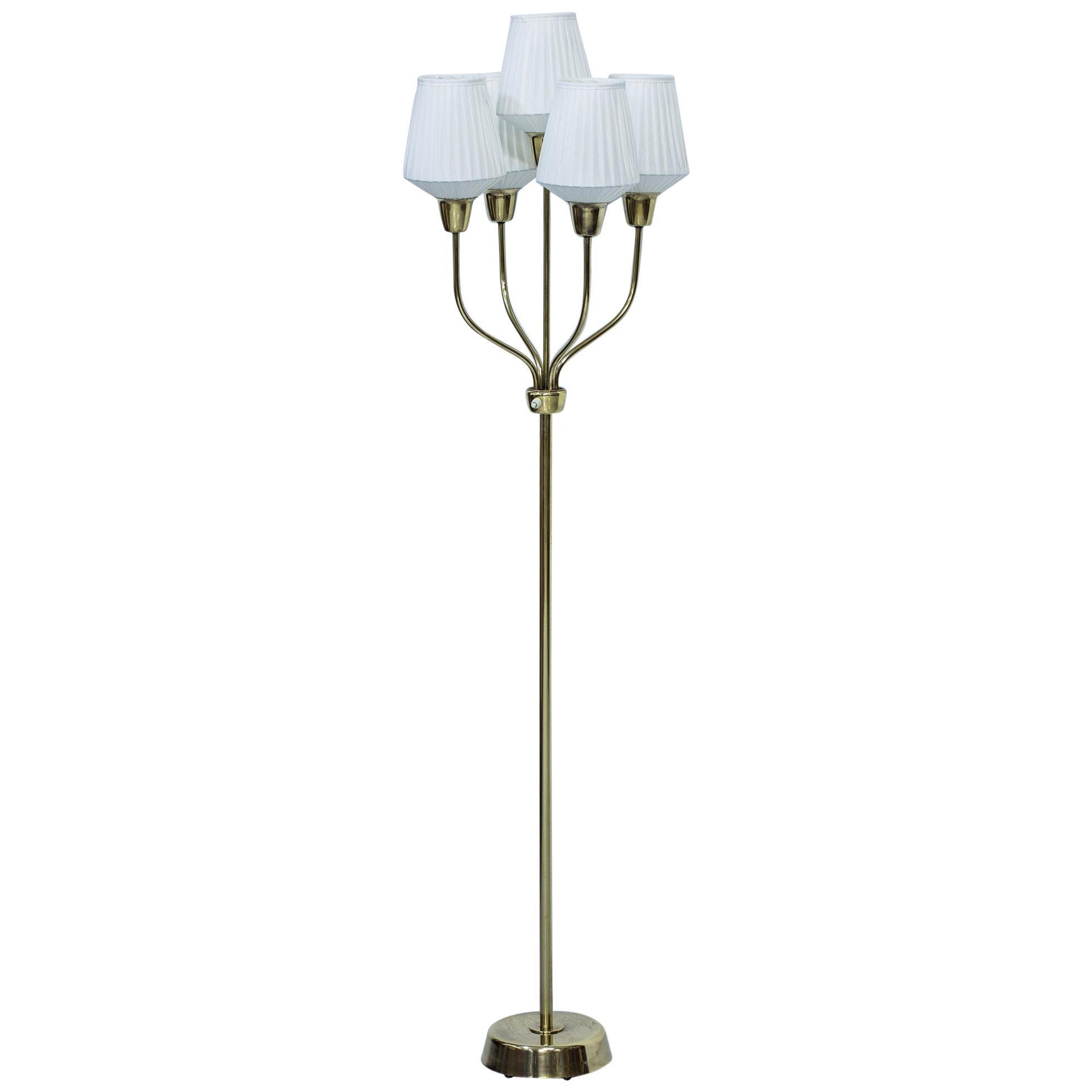 Rare Swedish Modern brass Floor Lamp by Hans Bergström, Ateljé Lyktan, 1940s