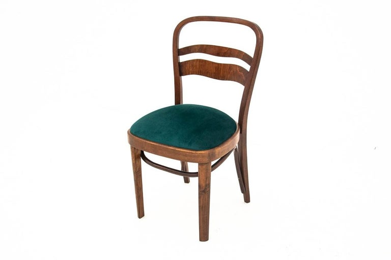Walnut Five Art Deco Dining Room Chairs For Sale