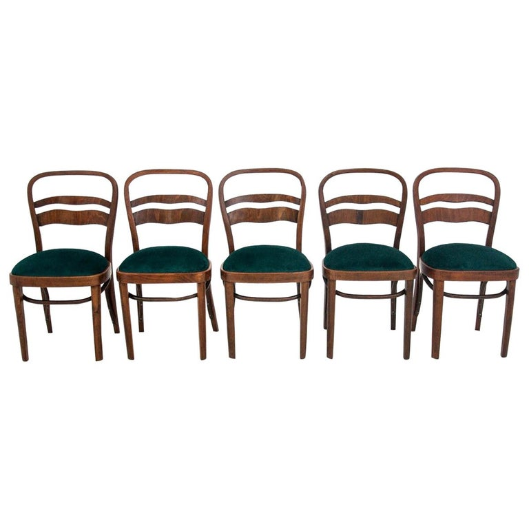 Five Art Deco Dining Room Chairs For Sale
