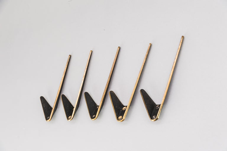 Mid-Century Modern Five Asymetric Wall Hooks by Hertha Baller Austria, 1950s For Sale