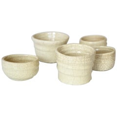 Five Asymmetric Craquelé Ceramic Bowls