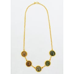 Five Authentic Ancient Hellenistic Coins and Gold Necklace